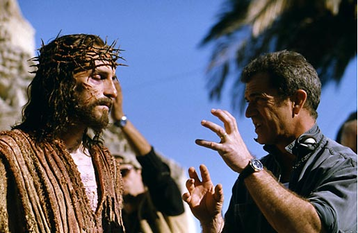 James Caviezel as Jesus talking with director Mel Gibson