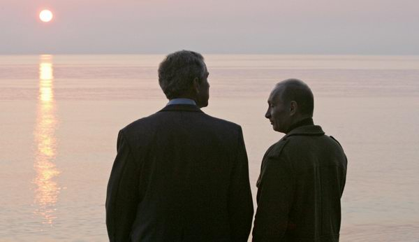 Bush and Putin in the Black Sea resort of Sochi
