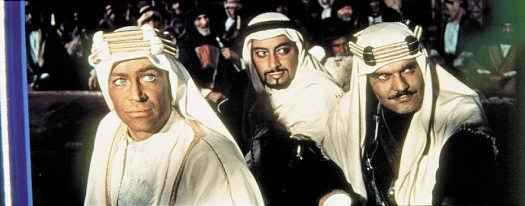 TE Lawrence with his Muslim prince, Sherif Ali, and Majid, as played by Peter O'Toole, Omar Sharif and Gamil Ratib in David Lean's Lawrence of Arabia